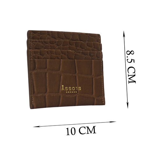 Assots London FANN Croc Embossed Genuine Leather RFID Credit Card Holder (Size 10x8.5) - Tan