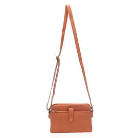 Super Soft 100% Genuine Leather Multi Compartment Orange Colour Handbag with Shoulder Strap (23x15.5