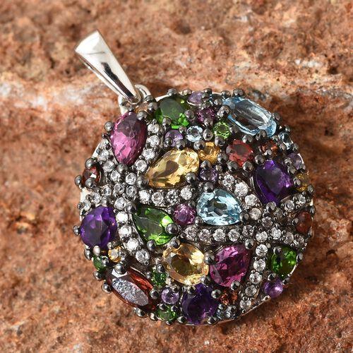 GP Mozambique Garnet (Ovl), Swiss Blue Topaz, Rhodolite Garnet and Multi Gemstone Pendant in Platinum Overlay Sterling Silver 3.250 Ct.