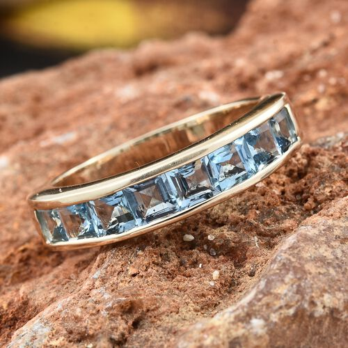 9K Yellow Gold AA Santa Maria Aquamarine (Princess) Half Eternity Band Ring 1.500 Ct.