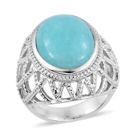 8.25 Ct Peruian Amazonite Solitaire Ring in Platinum Plated Sterling Silver 8.22 Grams