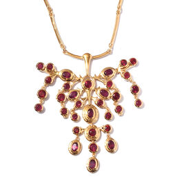 Designer-African Ruby Necklace (Size 18) in 14K Gold Overlay Sterling Silver 17.63 Ct, Silver wt. 35