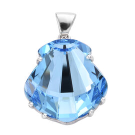 J Francis Made with Swarovski Crystal Seashell Pendant in Platinum Plated Sterling Silver 6.49 Grams