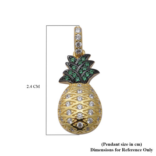 ELANZA AAA Simulated Diamond and Simulated Emerald Pineapple Pendant in Black Plating, Yellow Gold and Rhodium Overlay Sterling Silver