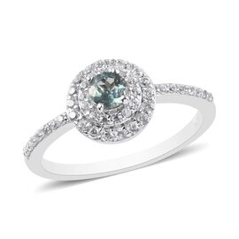Narsipatnam Alexandrite and Natural Cambodian Zircon Ring in Platinum Overlay Sterling Silver 0.83 C