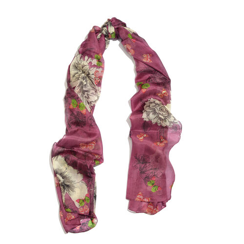Designer Inspired - 100% Mulberry Silk Purple, Green and Multi Colour Handscreen Floral and Butterfly Printed Scarf (Size 200X100 Cm)