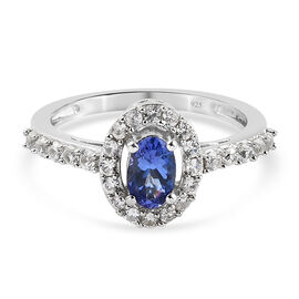 Tanzanite and Natural Cambodian Zircon Ring in Platinum Overlay Sterling Silver 1.08 Ct