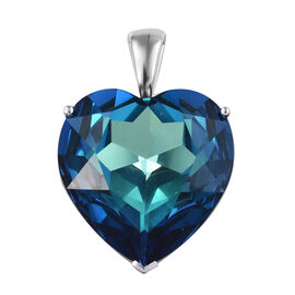 J Francis - Crystal From Swarovski - Bermuda Blue Crystal (Hrt 28 mm) Heart Pendant in Sterling Silver