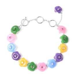 Multi Colour Candy Jade Floral Adjustable Bracelet in Rhodium Plated Silver 5 Grams 6 to 8 Inch