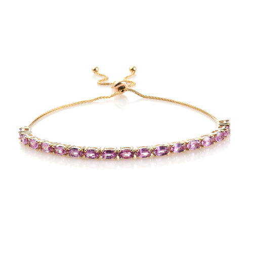 9K Yellow Gold AAA Pink Sapphire (Ovl) Bolo Adjustable Bracelet (Size 6.5 - 9.5) 5.000 Ct, Gold wt 6.00 Gms