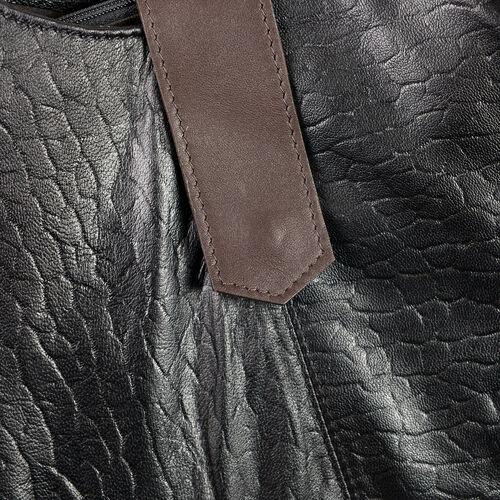 100% Genuine Leather Black Colour RFID Blocker Leopard Print Large Shoulder Bag (Size 40.5x31.75x9.5 Cm)