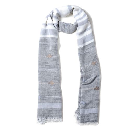 Grey and White Colour Strip and Rhombus Pattern Scarf (Size 180x70 Cm)