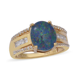 Boulder Opal and Cambodian Zircon Ring in Yellow Gold Overlay Sterling Silver