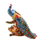 Multi Austrian Crystal Studded Enamelled Peacock Trinket Box