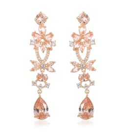 Simulated Champagne Diamond and Simulated Diamond Drop Earrings