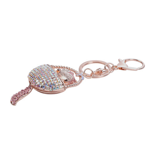 3 Piece Set - Multi Colour Austrian Crystal, Pink and White Austrian Crystal Cat, Fox and Monkey Enamelled Keychain in Rose Gold Tone