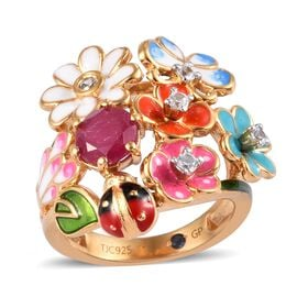 GP 1.50 Ct African Ruby and Multi Gemstone Floral Ring in 14K Gold Plated Sterling Silver 7 Grams
