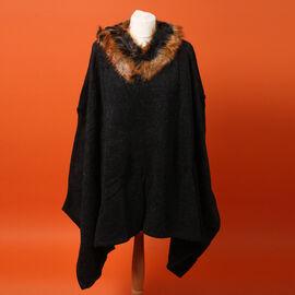 Orange Faux Fur Collar Poncho with Asymmetrical Hem in Black (One Size)