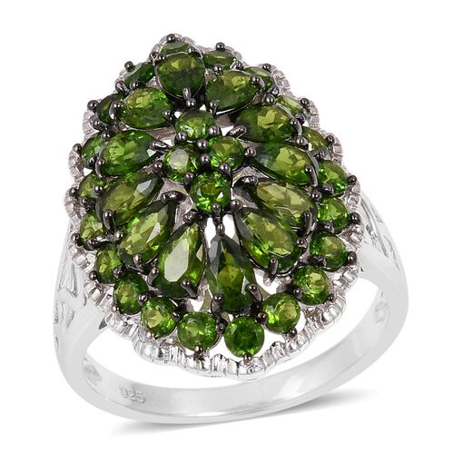 5 Carat Russian Diopside Cluster Ring in Sterling Silver 7.40 Grams