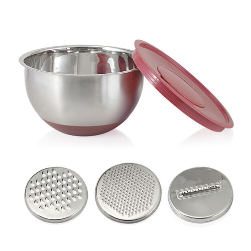 25 Pc. Stainless Steel Kitchen Set - 1 Splash Bowl, 3 Graters, 3 Mixing Bowls with 4 Red Lids, 4 Serving Bowls, 4 Measuring Cups, 4 Measuring Spoons, 1 Whisk, 1 Colander