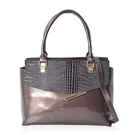 Lizard Skin Pattern Tote Bag with Detachable Shoulder Strap and Zipper Closure (Size 45x24x11.5 Cm)