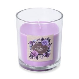 Aromatic Candle and Glass Container (Size 7.5x6.5 Cm) with Gift Box (Sage and Berry Fruits Fragrance