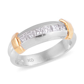 Signature Collection 0.60 Ct Diamond Princess Cut Half Eternity Band Ring in 950 Platinum and 18k Go