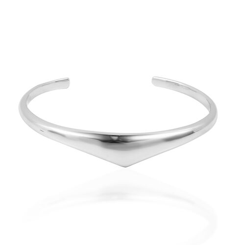 LucyQ Pebble Collection - Cuff Bangle (Size 7) in Rhodium Overlay Sterling Silver, Silver wt 30.92