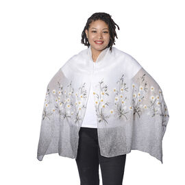 White Floral Embroidery Scarf with Dark Grey Spray Dots (65x180cm)