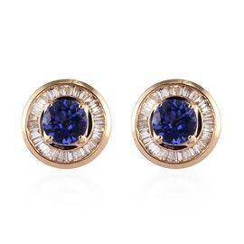 ILIANA 18K Yellow Gold AAA Tanzanite (Rnd), Diamond Earrings 1.750 Ct.