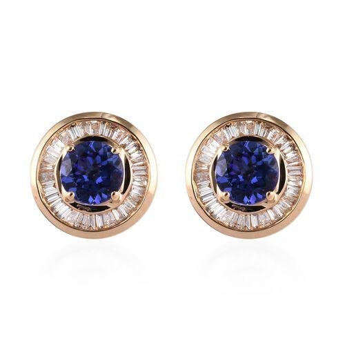 ILIANA 1.75 Ct AAA Tanzanite and Diamond Halo Stud Earrings in 18K Gold 3.67 Grams