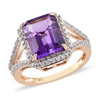 9K Y Gold Moroccan Amethyst and Natural Cambodian Zircon Ring (Size K) 3.85 Ct, Gold wt. 3.09 Gms