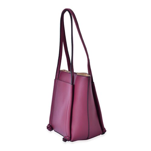 Burgundy Colour Tote Bag (Size 33x28x22x14 Cm)