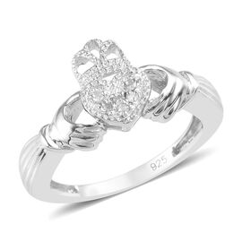 Diamond (Rnd) Claddagh Ring in Platinum Overlay Sterling Silver 0.050 Ct.