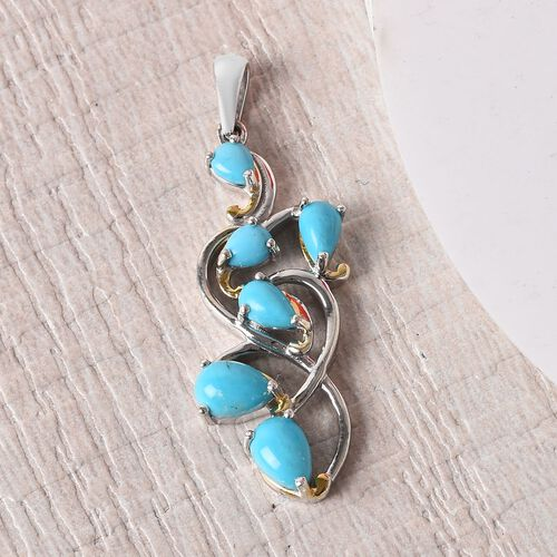 Arizona Sleeping Beauty Turquoise Leaf Design Pendant  in Platinum and Yellow Gold Overlay Sterling Silver 1.75 Ct.