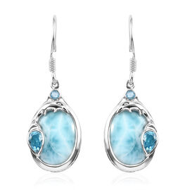 Sajen Silver Larimar and Blue Doublet Quartz Hook Earrings in Platinum Overlay Sterling Silver 10.20