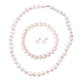 3 Piece Set - Freshwater Pearl Necklace (Size 20), Stretchable Bracelet (Size 8.5) and Earrings (wit