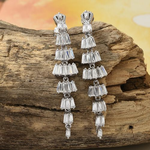 J Francis - Platinum Overlay Sterling Silver (Bgt and Rnd) Chandelier Earrings (with Push Back) Made with SWAROVSKI ZIRCONIA, Silver wt 7.27 Gms.