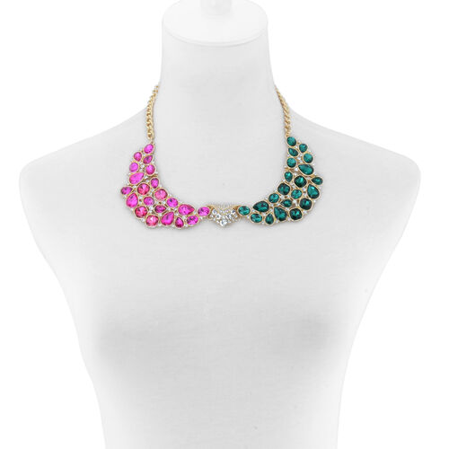 Simulated Emerald and Sapphire and White Austrian Crystal Necklace (Size 20) and Earrings in Gold Tone