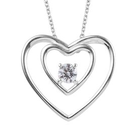 J Francis Made with SWAROVSKI ZIRCONIA Double Heart Solitaire Pendant with Chain in Silver 20 Inch