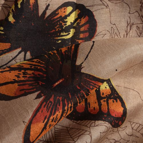 100% Mulberry Silk Brown and Multi Colour Butterfly Pattern Pareo (Size 180x100 Cm)