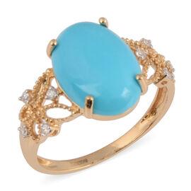 ILIANA 18K Yellow Gold AAA Arizona Sleeping Beauty Turquoise (Ovl 14x10mm), Diamond Ring 4.64 Ct.