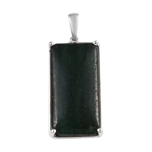 23.25 Ct Green Aventurine Solitaire Pendant in Sterling Silver 3.51 Grams