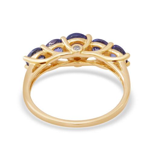 9K Yellow Gold AAA Tanzanite and Diamond (I3/G-H) Ring 2.00 Ct.