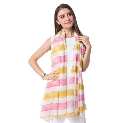 White, Mustard and Pink Colour Strip Pattern Scarf (Size 180x90 Cm)