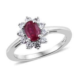 0.97 Ct African Ruby and Cambodian Zircon Halo Ring in Platinum Plated Sterling Silver