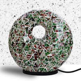Bali Collection - Mosaic Donut Lamp (Size 30x28x7 Cm) - Green & Red