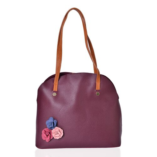 Set of 2 - Multi Colour 3D Flowers Embellished Burgundy Colour Handbag (Size 34X29X15 Cm) and Pouch (Size 27X20X7 Cm)