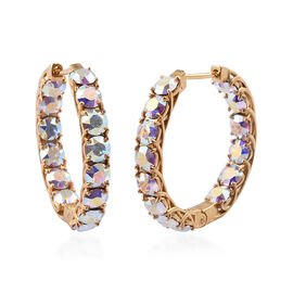 J Francis - Crystal from Swarovski AB Crystal (Rnd) Hoop Earrings (with Clasp) in 18K Yellow Gold Plated