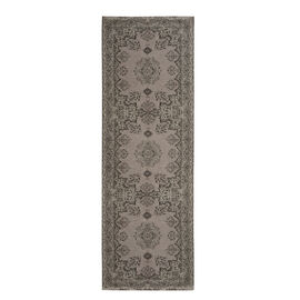 Premium Cotton Light Grey and Multi Colour Rug (Size 240x80 Cm)